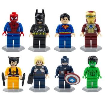 8pcs/set Superman Raytheon Hulk Spiderman Captain Wolverine Iron Man Batman Figure Building Block Toy