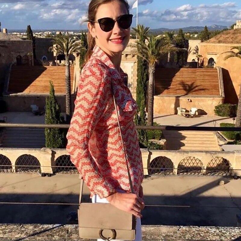 100% seide Rot Jasmin Gedruckt Weiche und Elegante Lange Hülse Frauen Tops und Blusen-in Blusen & Hemden aus Damenbekleidung bei  Gruppe 1