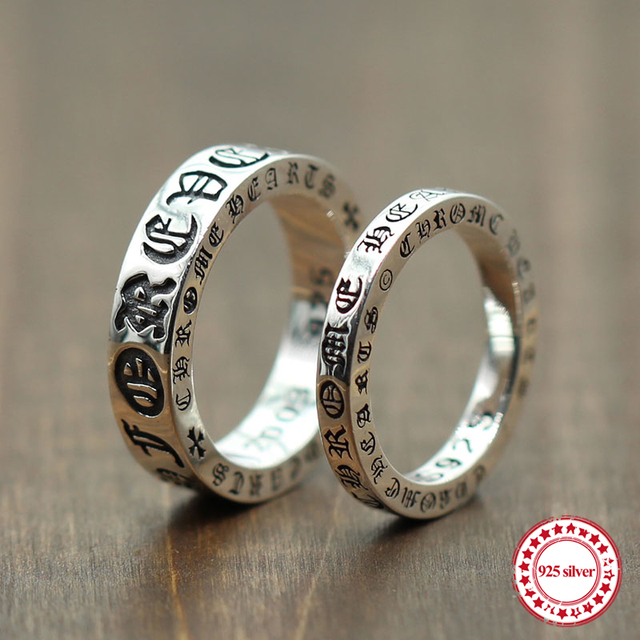 8704e805e 925 sterling silver ring jewelry to create personalized Forever Couple ring  Thai silver retro old unique style to send a gift