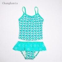 아기 소녀 2 개 민트 녹색 작은 물고기 패턴 2-7 Y 수영복 어린이 여름 해변 수영 착용 sw0617