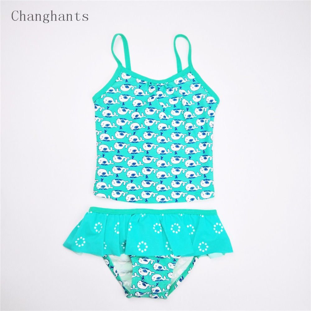 Baby Girls Swimwear 2 Pieces Mint Green with Little Fish Pattern 2-7 Y Kids Swimsuit Children Summer beach swimming wear