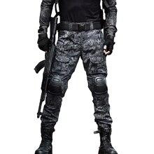 Тактические брюки для камуфляжа Коленные подушки Мужская армия Военные боевые камуфляж SWAT Униформа Брюки Поезд Пейнтбол Брюки Работа Брюки