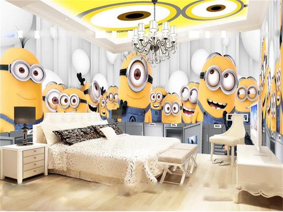 custom mural photo 3d wallpaper kids room cartoon Minions big eyes painting sofa TV background non-woven wallpaper for wall 3d