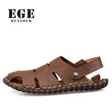 Nueva Llegada de Cuero Suave Sandalias de Playa para Hombres Hechos A Mano de Cuero Genuino de Verano Zapatos Masculinos Clásicos De Costura Retro Zapatillas para Los Hombres
