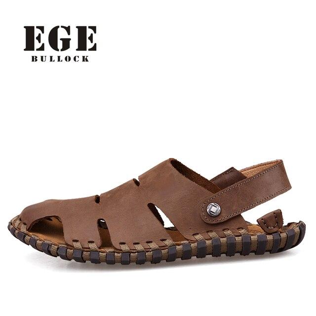 Sandali da spiaggia di morbida pelle genuina Slip su scarpe