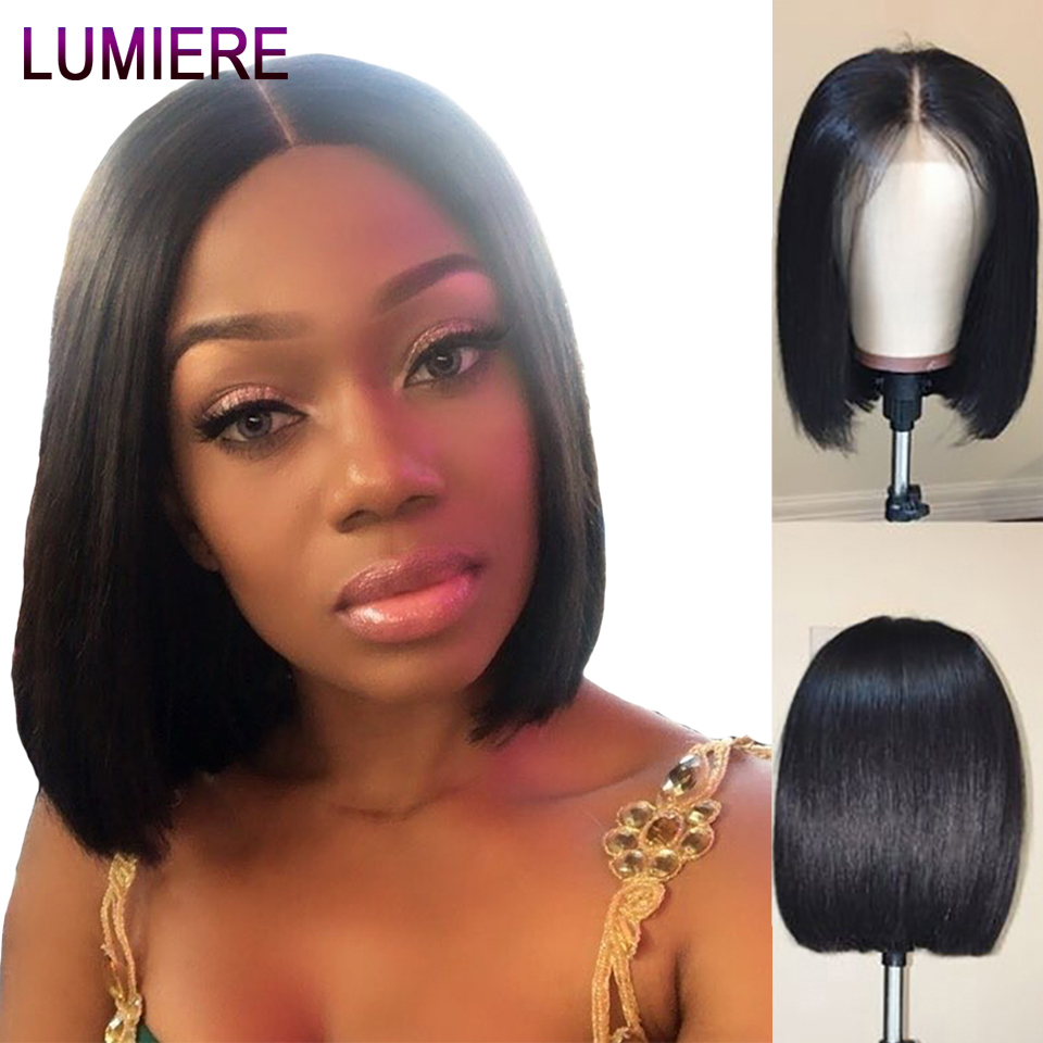 Lumiere Hair Peruvian Short Lace Front Human Hair Wig Pre Plucked With Baby Hair Human Hair