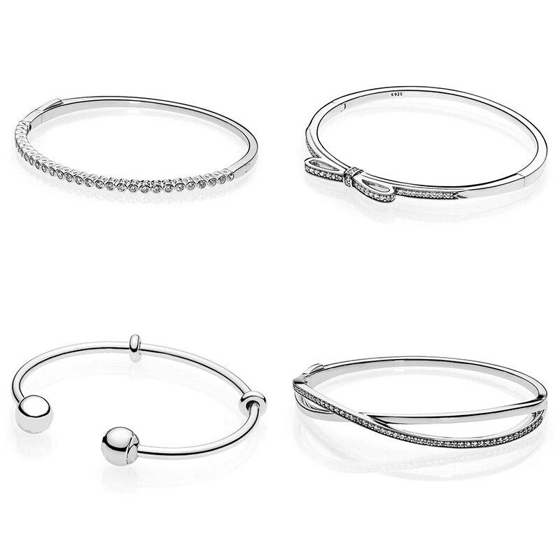 все цены на 925 Sterling Silver Basic Bangles Bowknot Round Crystal Bracelets Jewelry For Women Diy Beads Charms онлайн