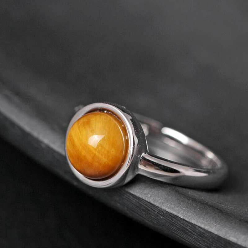 Ruifan Adjustable Brown Color Natural Tiger's Eye Gemstone Ring Real 925 Silver Rings for Women Lady Girls Fine Jewelry YRI107