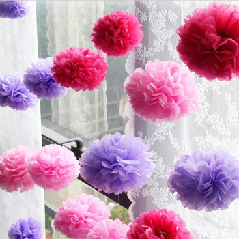 Tissue Paper Flower Pom Poms DIY Paper Flower Baby Shower Birthday Wedding Party Decoration Halloween Themed Tea Party Favor image