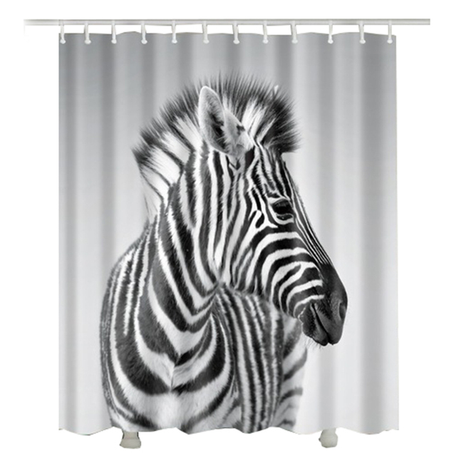 Printed Zebra Shower Curtain For Bathroom Decor Polyester Waterproof 2017 New