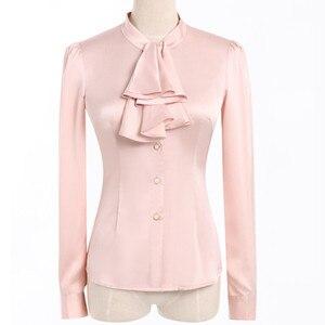 Image 5 - Babados gola casual feminina blusa feminina elegante rosa fino ajuste camisa senhoras topos escritório novo estilo moda trabalho wear