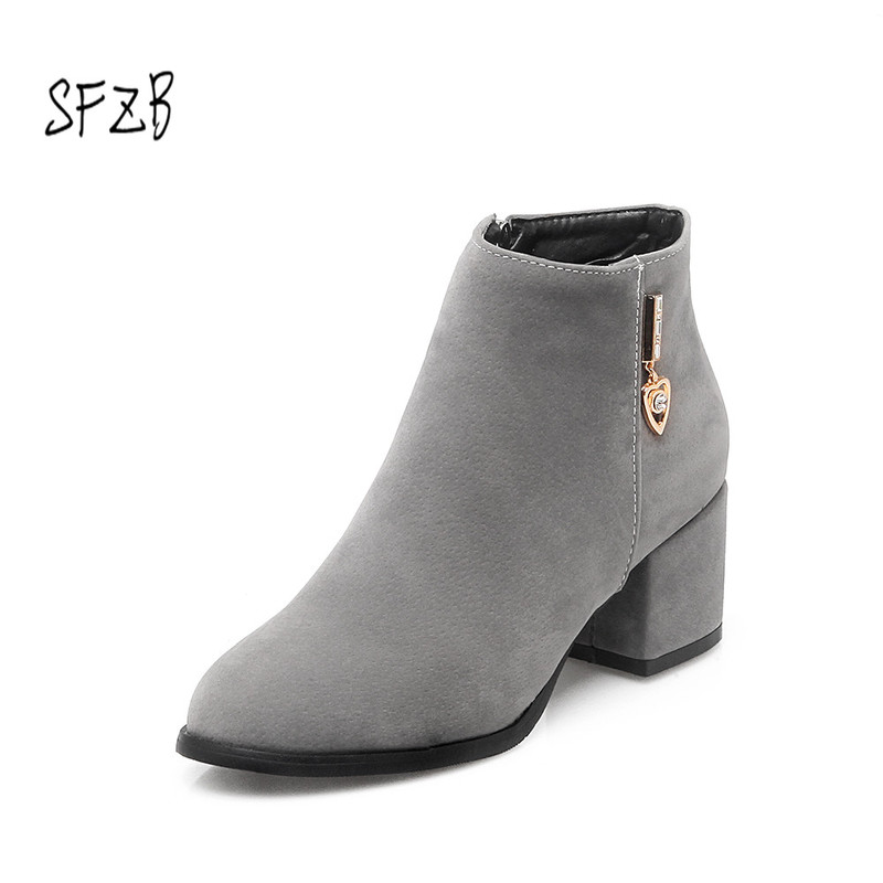 SFZB Women Ankle Boots Zipper Design Fashion Square High Heel Round Toe All Match Ladies Motorcycle Boots Size 34-43