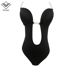 Wechery Invisible Push up Bra for Women Sexy Backless Bra Plunge Bras Bralette Clear Strap Brassiere Bodysuit black friday deals