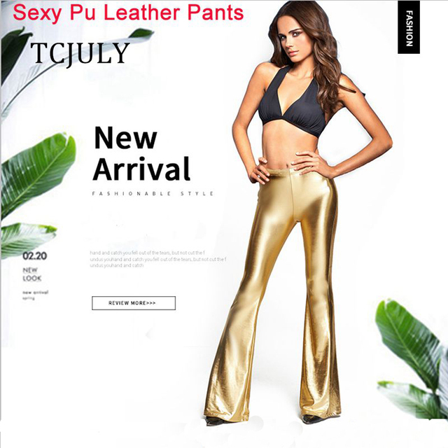 TCJULY пикантные однотонные Pu кожаные штаны узкие брюки клеш для Для женщин Мода Disco Flare Брюки плюс Размеры эластичные блестящие леггинсы