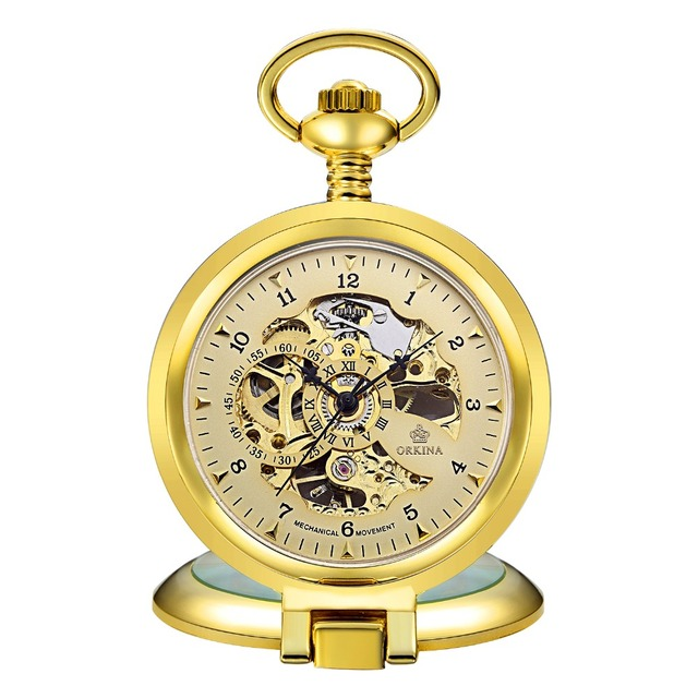 Antique Steampunk Skeleton Male Clock Transparent Mechanical Pocket Watch with P