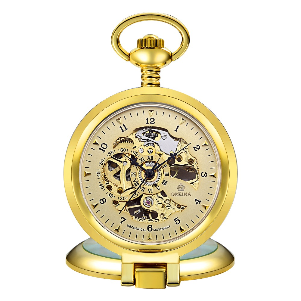 Antique Steampunk Skeleton Male Clock Transparent Mechanical Pocket Watch with Pendant Chain for for Men Women Children +BOX
