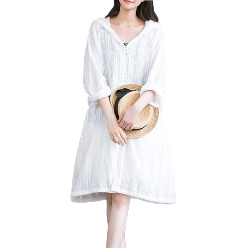Thin Cotton Linen Trench Coat Women 2019 Summer Hooded White Sun protection Coat Female Long sleeve Loose Thin Windbreaker A2604