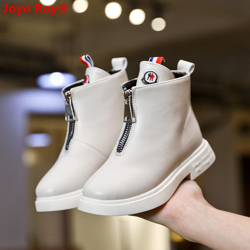 2019 Autumn New Full Leather High-top Children's Single Boots Fashion Solid Color Boy And Girl Shoes Kids Shoes Size 27-37