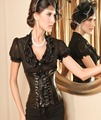 Faux Leather Black Lace Up Waist Cincher Corset