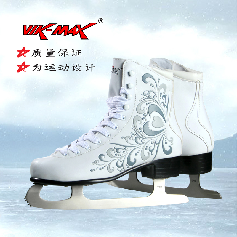 VIK-MAX Athletic Shoe Women Tricot Lined figure Ice Skates Shoes vik max adult kids dark blue leather figure skate shoes with aluminium alloy frame and stainless steel ice blade