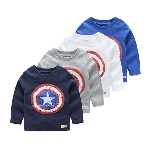 Kids T-shirt Captain America Boy Long Sleeve T Shirt Baby Cotton Toddler Children Bottoming Tee Shirt Infant Tops Spring Autumn