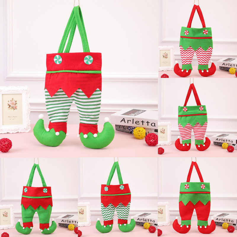 1PC Creative Gift Bags Christmas Elf Wave Striped Dress Pattern Red Wine Bottle Cover Dining Table Decor Party XMAS Candy Bags