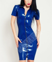 Latex Girls Skin Tight Dress Dark Rubber Latex Skirt With Front Full Length Zip Nigh Club Wear Latex Party Dress