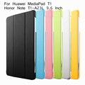 Suporte dobrável tablet pc capa para para huawei honor nota 9.6 t1 10 t1-a21l t1-a21w t1-a23l case + protetor de tela + bom pacote