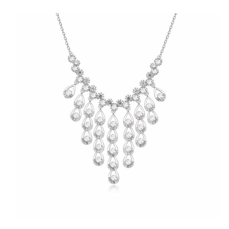 Luxury Necklace Pendant Austrian Crystal Power Necklace Women Bohemian Jewelry 4 Colors Fashion Party Dress Bijoux