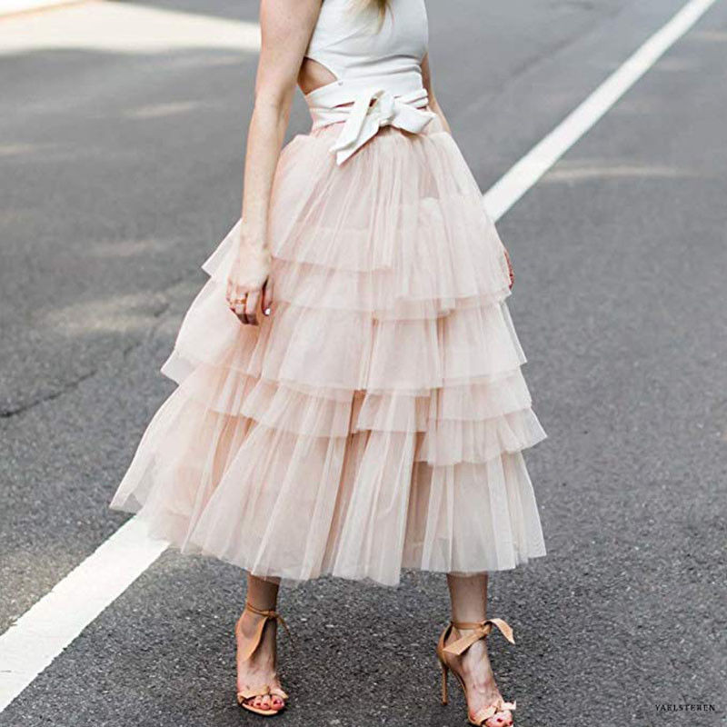 5fb4f5e26c9 Womens Lace Multi Layered Tulle Mesh Skirt Elastic High Waist Tiered Pleated  Maxi Long Skirts Fashion Lady Loose Straight Skirts-in Skirts from Women s  ...