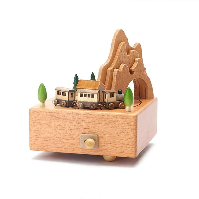 Kawaii Zakka Carousel Musical Boxes Wooden Music Box Wood Crafts Retro Birthday Gift Vintage Home Decoration Accessories