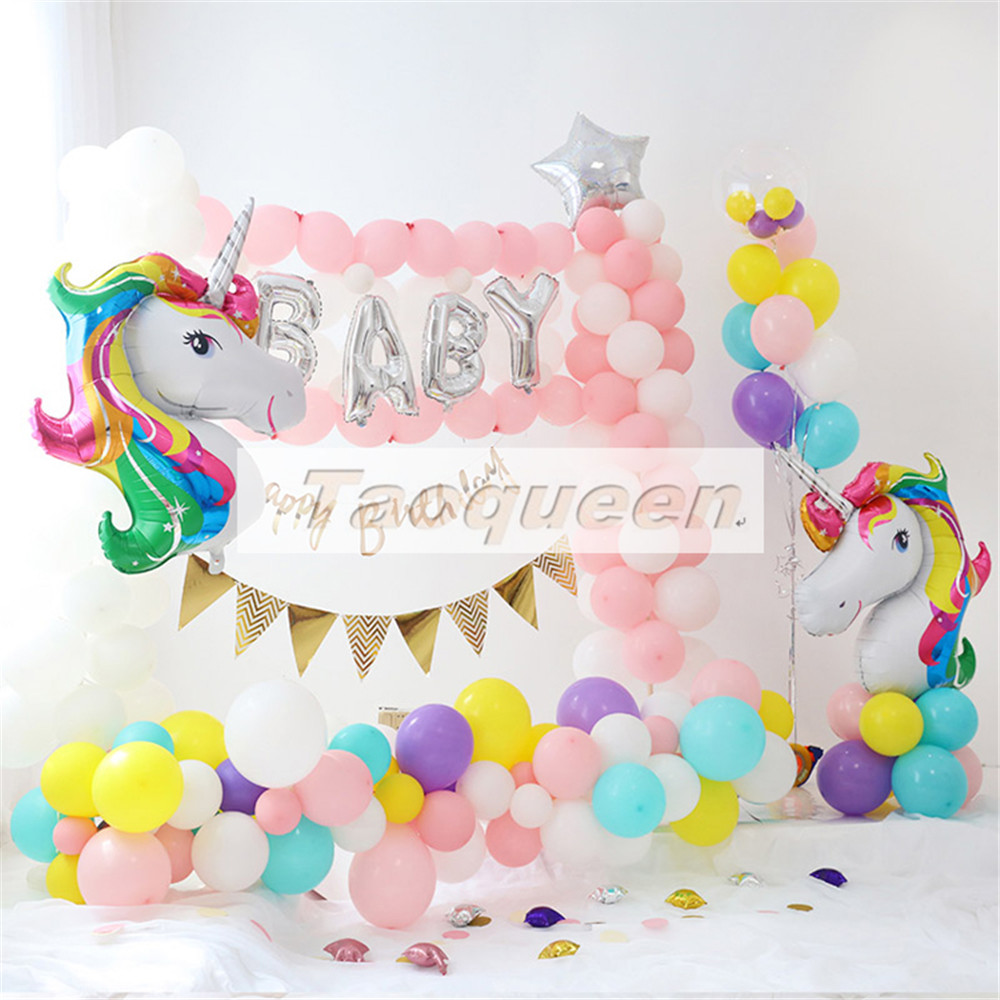 11pcs Unicorn Balloons Birthday Party Pink Rainbow Agate Balloon Kids Party Favors Gifts Baby Shows Backdrop Decor Cartoon Hat Toys & Hobbies