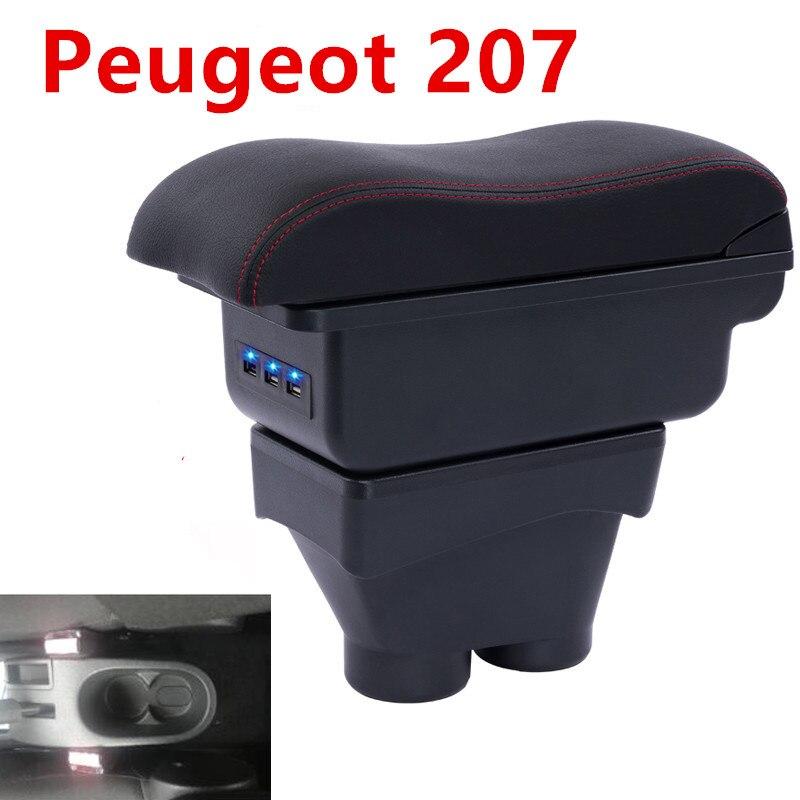 עבור פיג 'ו 207 משענת יד מרכזית המכונית תיבת משענת אחסון תיבת אביזרים