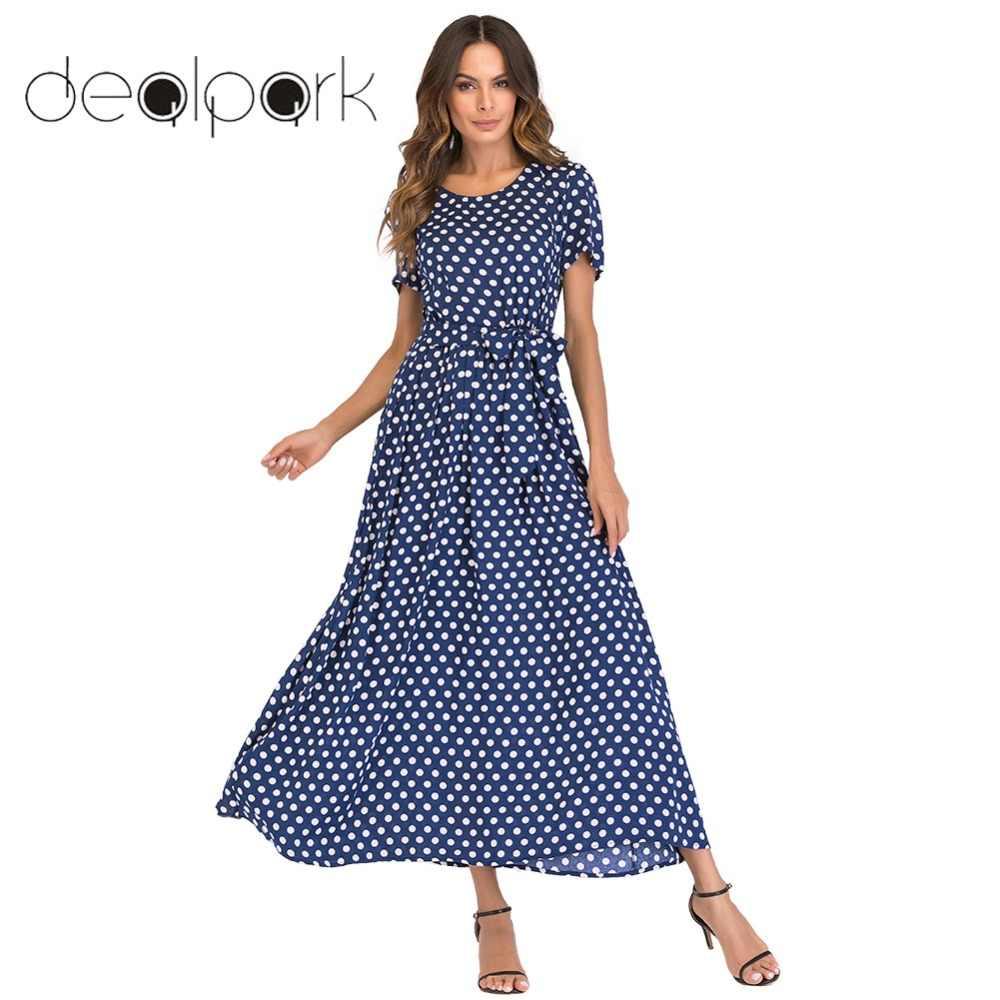 babe4092f67d02f платье женское платье в горошек В Корейском стиле модные женские туфли Макси  длинное платье Винтаж в
