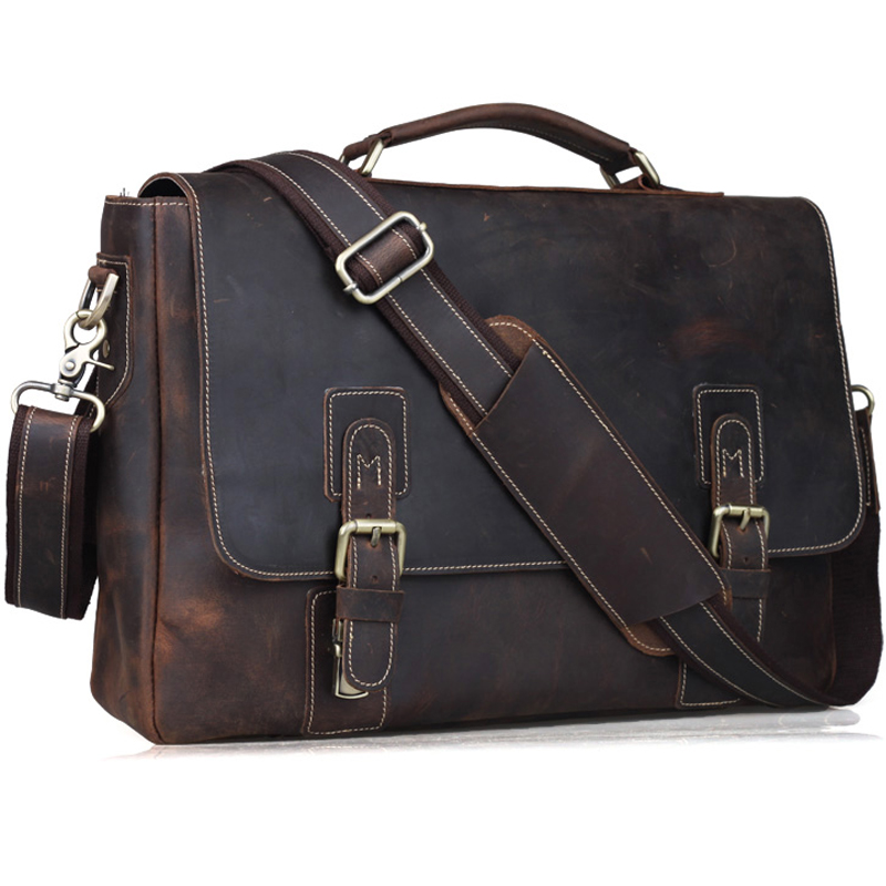 "TIDING Crazy Horse Genuine Leather Briefcase 14 ""Laptop Väska Axelväska Fashion Vintage Handväska Dark Brown 80692"