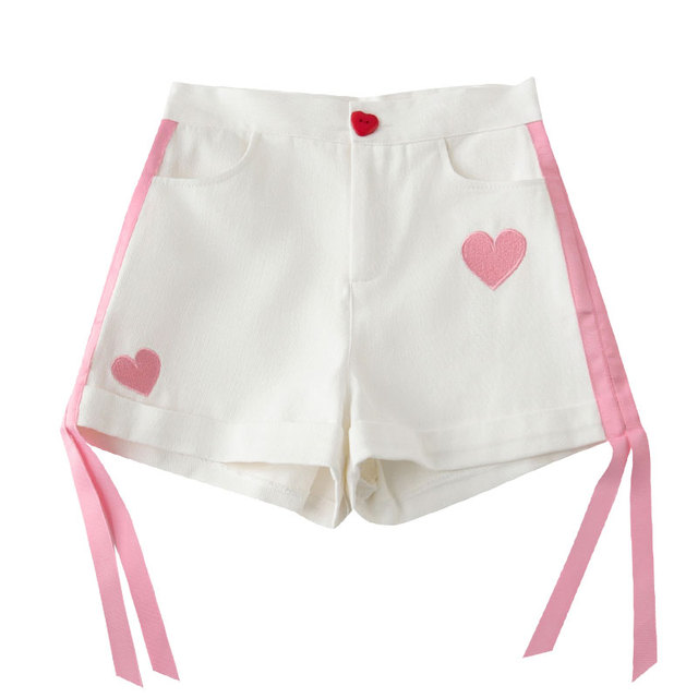 Summer Shorts Women Cute Love Embroidery Love Button Ribbon Decoration Female Shorts