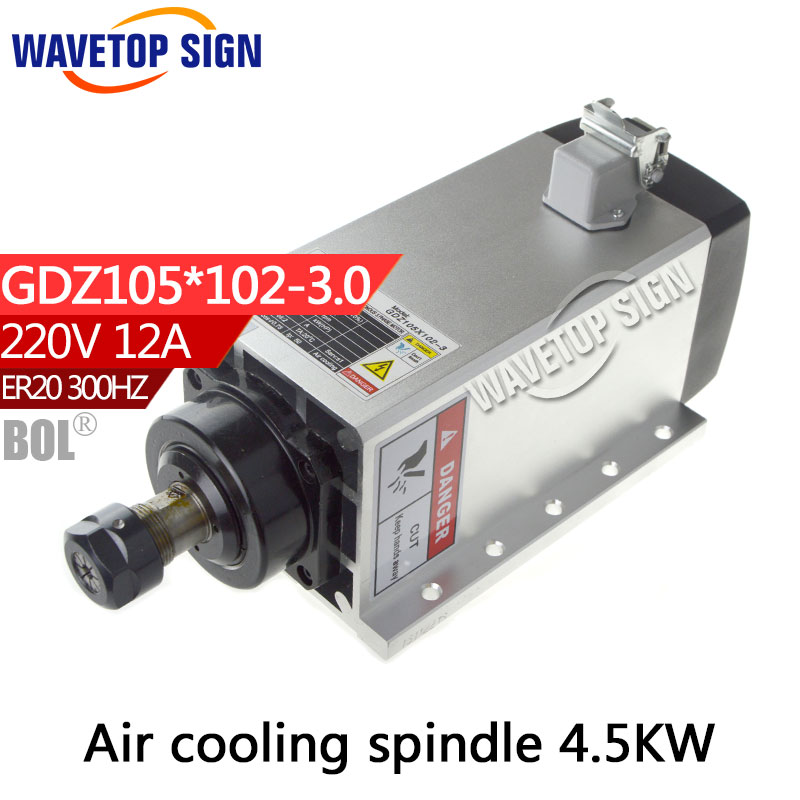BOL air cooling   spindle 3.0kw  Cnc Spindle GDZ105*102-3.0  3.0kw 220 chuck nut ER20  Grease air cooling 18000r/min 300HZ cnc spindle 7 5kw air cooling cnc spindle gdz120 103 7 5 7 5kw 380v air cooling chuck nut er32