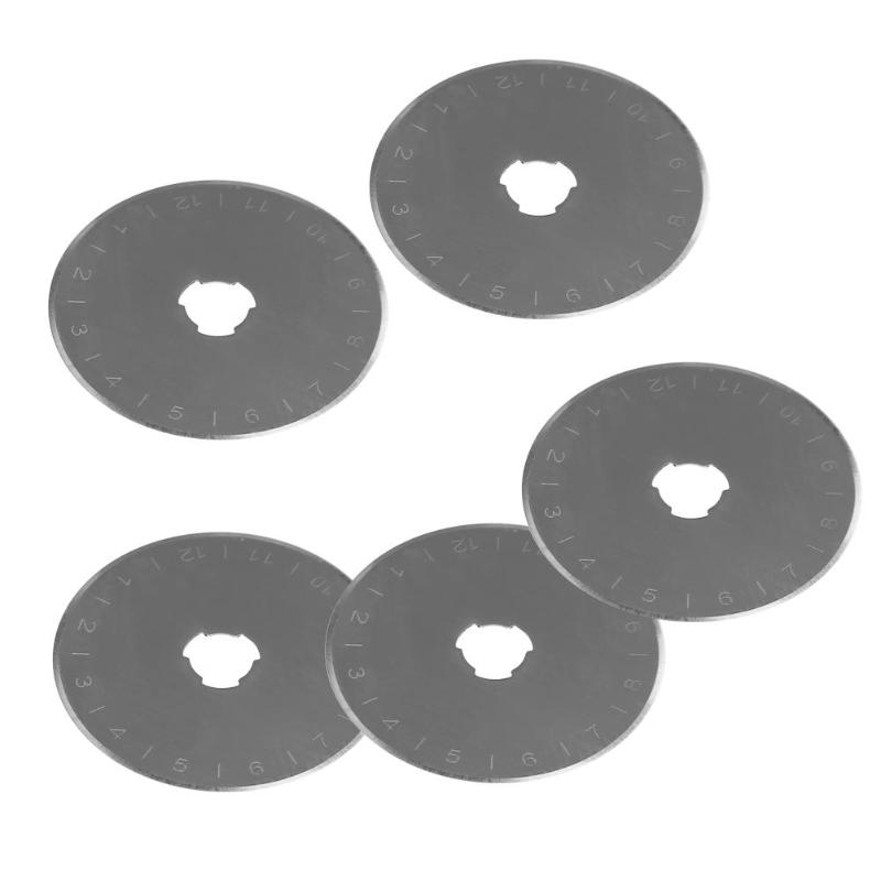 5pcs/Set Saw Blade 45mm Rotary Cutter Refill Blades Patchwork Fabric Leather Craft Steel Circular Sewing Quilting Tools E5M1