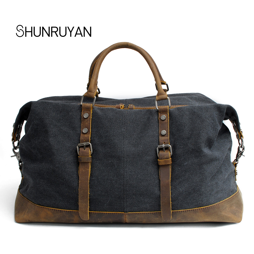 SHUNRUYAN Canvas Cow Leather Men Travel Bags Carry on Luggage Bags Men Duffel Bags Travel Tote Large Capacity Tote handbag Bag mybrandoriginal travel totes wax canvas men travel bag men s large capacity travel bags vintage tote weekend travel bag b102