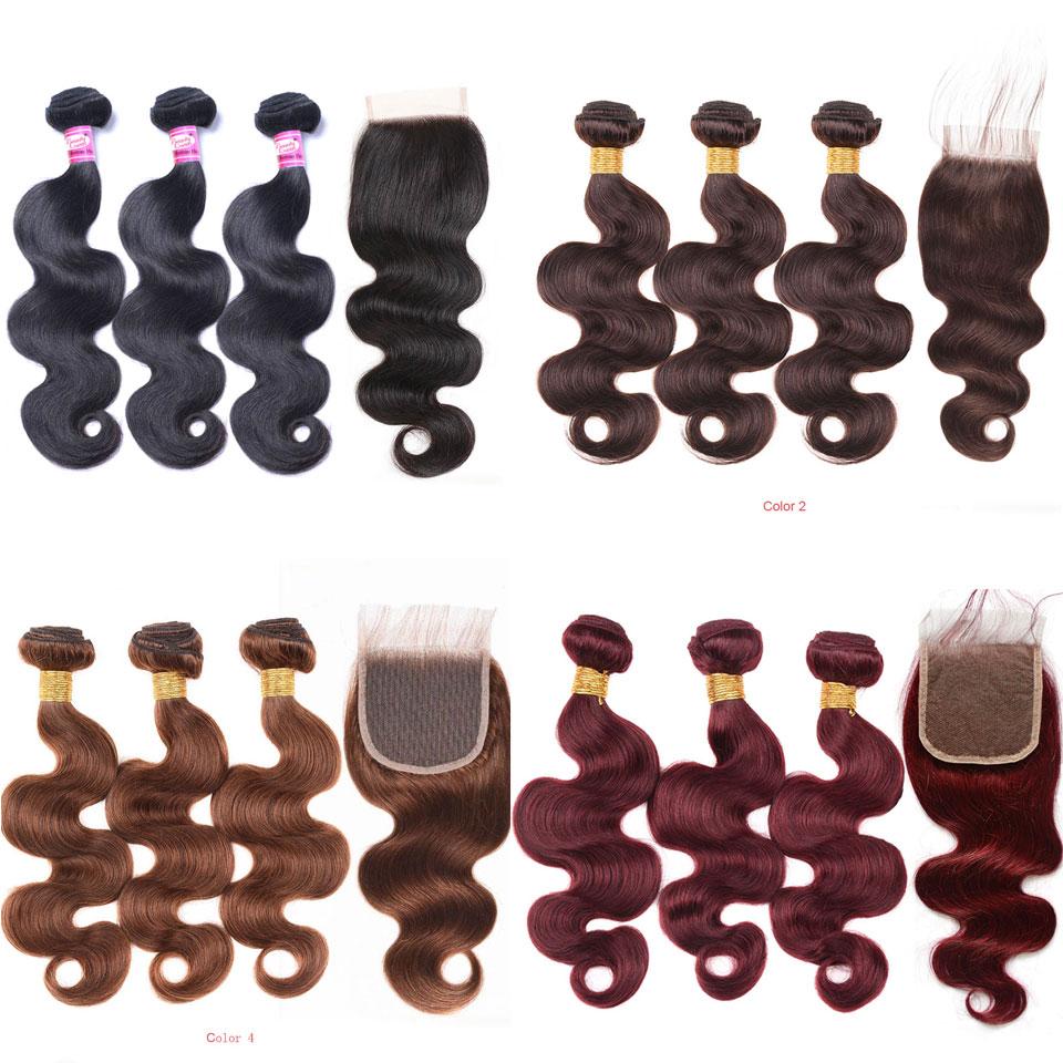 Malaysian Hair Bundles With Closure Body Wave T1B 4 27 30 T1B 27 30 T1B 99J