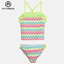 цена на Attraco Girls Swimwear Two Piece Swimsuits Tankini Striped Print Ruffle Kids Cute Bikini Adjustable Strap Beachwear Sale