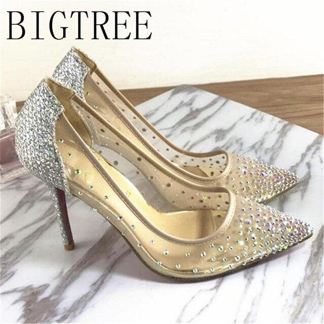 Серебряный Bling модные дизайнерские женские туфли-лодочки на высоком каблуке летние Прозрачные Свадебные туфли на шпильках 5 см 8 см 10 см тонкие каблуки