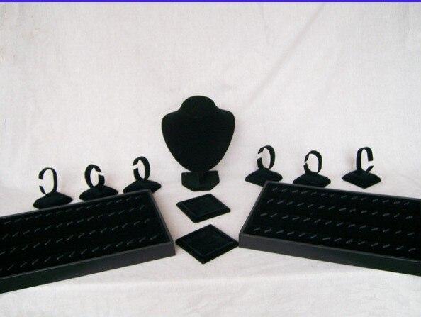 купить 9pcs/Set Retail Jewelry Set Display Stand Black Velvet Earring Holders Necklace Bangle Pendant Bracelet Display онлайн