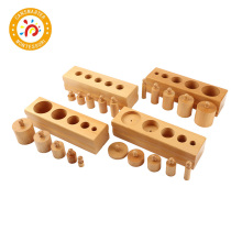 Montessori Baby Wooden Toys Cylinder Block Set For Children Educational Preschool Early Learning Toy