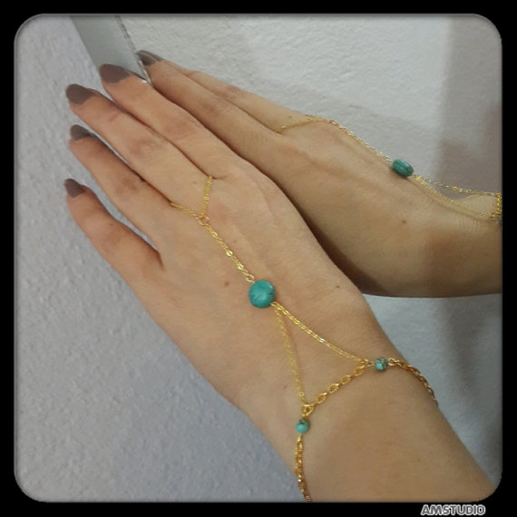 Slave bracelet body chain,Gold Hand Chain,Turquoise,Brecalet, Body Chain