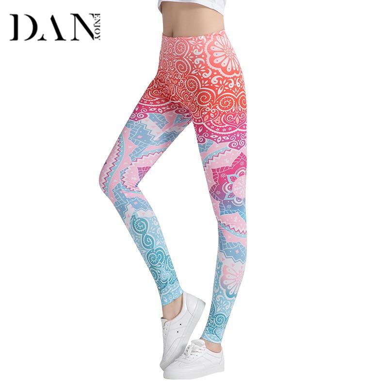 DANENJOY Leggings Mandala Mint Printing Fitness Legging High Elasticity Slim Leggins Trouser For Women High Waist Pencil Pants