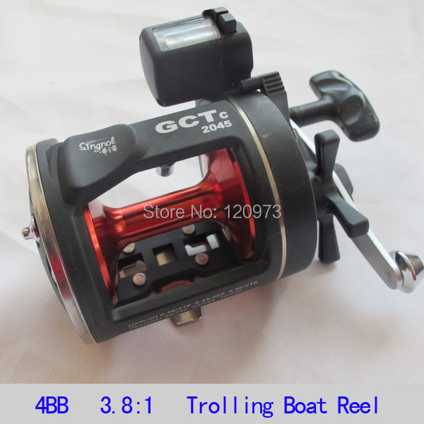 Trolling Reel GCTC2045 4BB 3.8:1 Boat Fishing Reel Bait Casting Reel Fishing Wheel With Line Counter Drum Salterwater  Reel 1pcs ct100 3bb drum fishing reel stainless steel trolling reel boat fishing reel 3 8 1