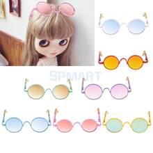 82ee9e61d0856 Par Retro Hippy Rodada Lente Gradiente Quadro Óculos Óculos Óculos de Sol  para Blythe Dolls Acessórios