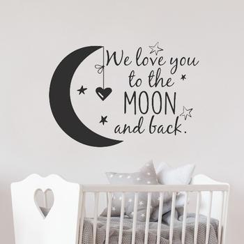 Kochamy cię na księżyc i z powrotem naklejka przedszkole cytaty księżyc i gwiazdy naklejki ścienne dekoracja do pokoju dziecięcego dzieci pokoje LW101 tanie i dobre opinie Jednoczęściowy pakiet Naklejka ścienna samolot Nowoczesne Do lodówki Dla dymu spalin Dla gabinetu kuchenka Do płytek