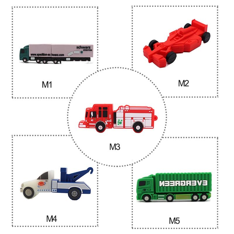 100% Real Capacity Pen Drive 5 Styles Cars Usb Flash Drive 4GB 8GB 16GB 32GB 64GB Fire Truck / Container Truck / Crane Pendrive